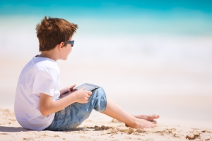 tablet device at beach